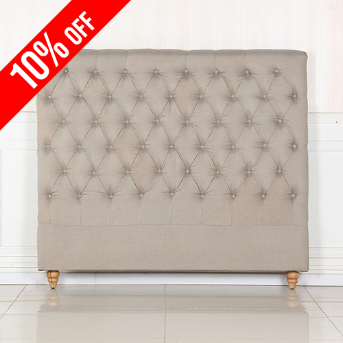 Sean Fabric Queen Beige Bed Headboard