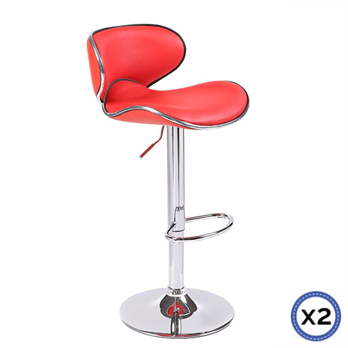 Faux Leather Chrome Base Gas Lift Bar Stool Red Bela