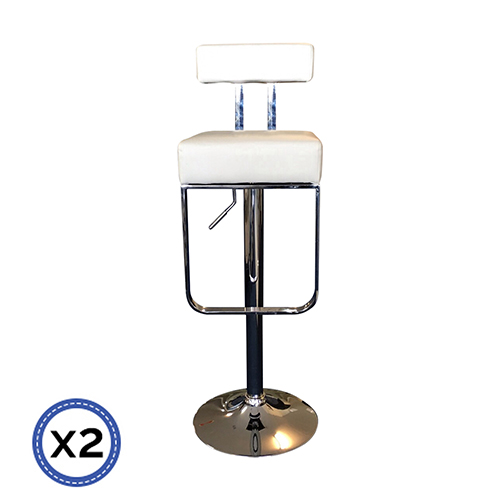 Faux Leather Chrome Base Gas Lift Bar Stool White Celo