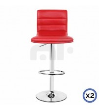 Faux Leather Chrome Base Gas Lift Bar Stool Red Tara