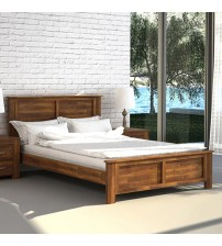 Arron Java Rustic Queen Size Bed Frame