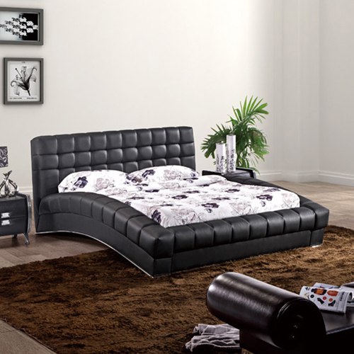 Elegance Leatherette Padded Bed in Curvy Style