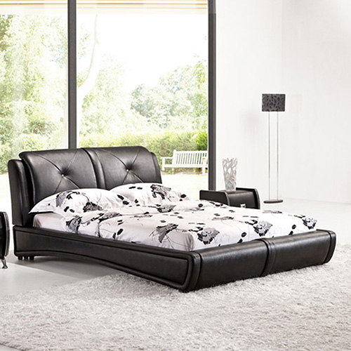 Grande Leatherette King Bed with Crystal Tufting Headboard