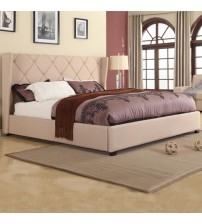 Louvre Fabric Upholstered Queen Beige Bed Frame