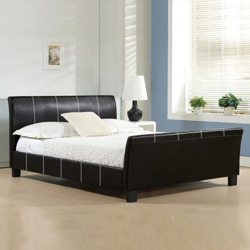 Majestic Leatherette Bed with Sleigh Style Headboard