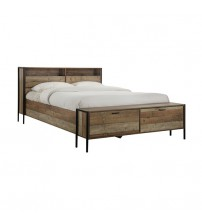 Mascot Queen Bed with Storage Oak Colour