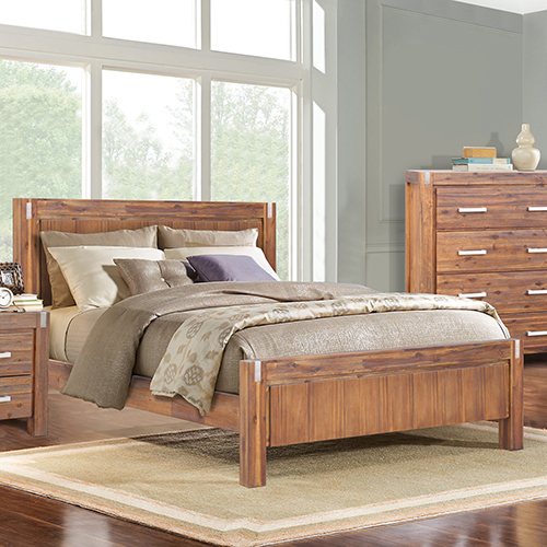 Matrix Brushed Walnut Queen Bed