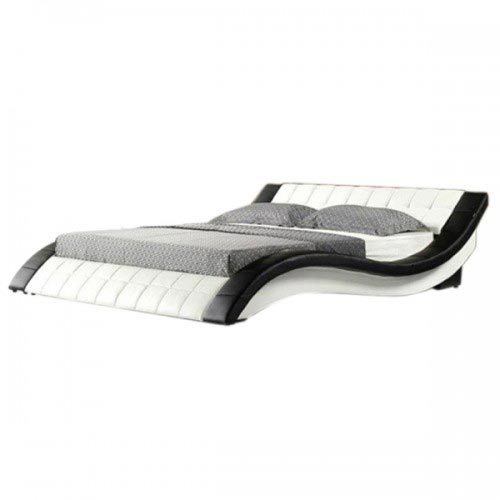Pride Curved Leatherette Bed in White and Black Finish