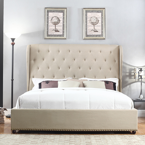 san francisco af64d 8bab1 Paris Winged Fabric Bed with Diamond Tufted Detailing