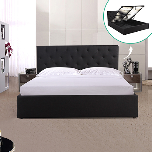 Rome Queen Gas Lift Fabric Storage Bed Frame Black