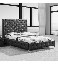 Serena Queen Leatherette Bed with Diamond Tufted