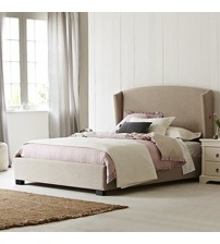 Venus Winged Fabric Bed in Beige Finish