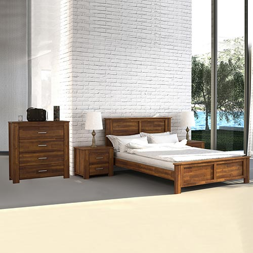 Arron 4 pcs Queen Bedroom Suite in Java Rustic Colour