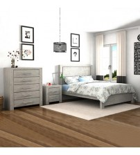 Arya 4 pcs Queen Bedroom Suite in Ash Ceram Colour