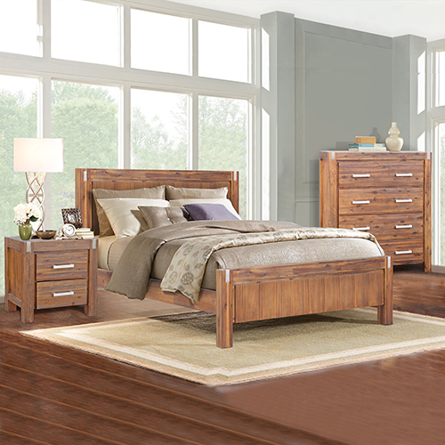 Matrix Brushed Walnut Queen Bedroom Suite