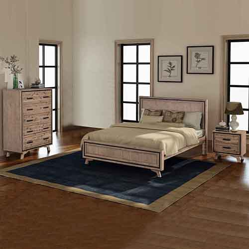 Seashore Silver Brush 4 Pcs Queen Bedroom Suite