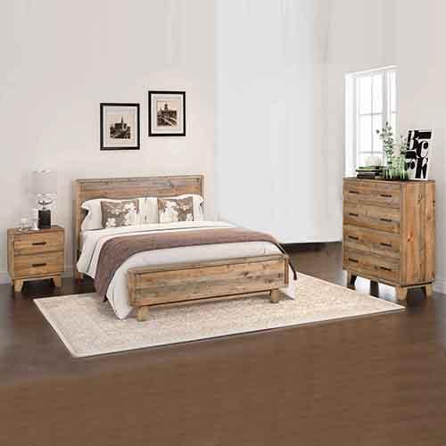 woodstyle light brown 4 pcs queen bedroom suite