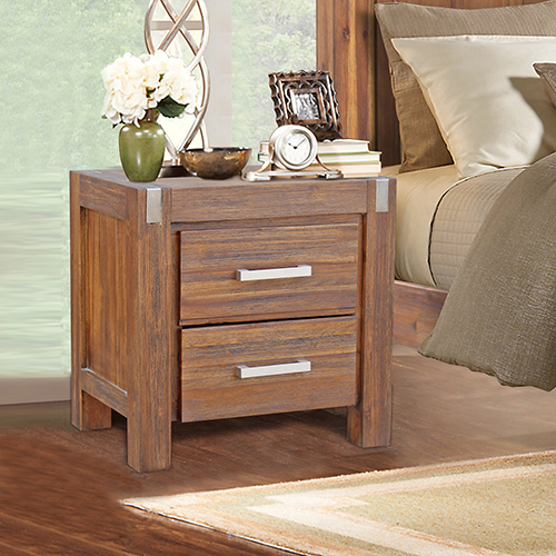Matrix Brushed Walnut Bedside Table