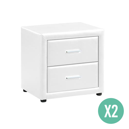 2X Soho PU Leather Bedside Table