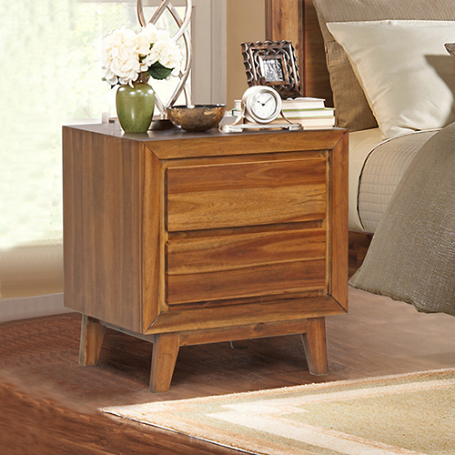 York Euro Walnut Bedside Table