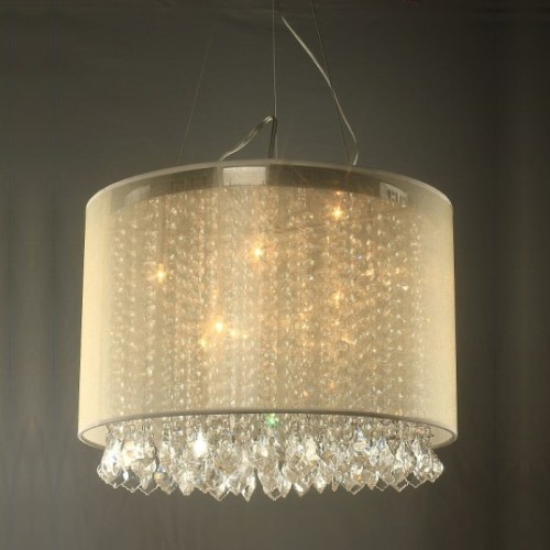 Ceiling Light Metal Frame and Fabric Shade in White