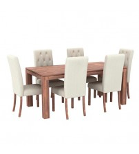Aston Caramel Colour Dining Table With 6X Chair