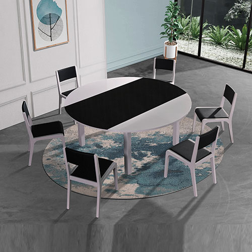 Bailey Glossy Black & White Dining Table With 6X Chairs