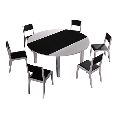Baily Glossy Black & White Dining Table With 6X Chairs