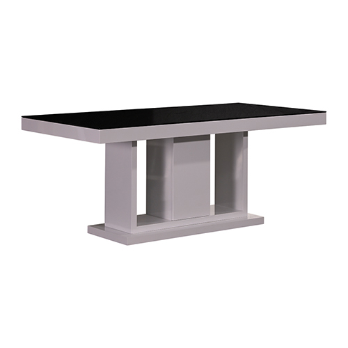 Espresso Dining Table Black Glass & White Painting