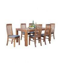 Brushed Walnut Colour Dining Table With 6X Chair