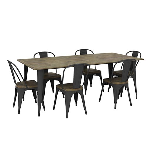 Nouva Boutique Grey Dining Table With 6X Chair