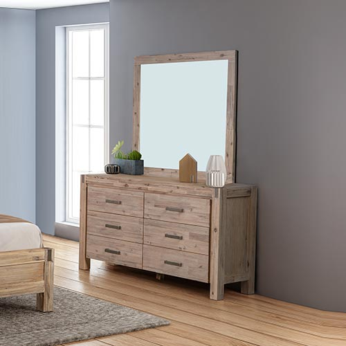 Java 6 Drawers Dressing Chest With Mirror