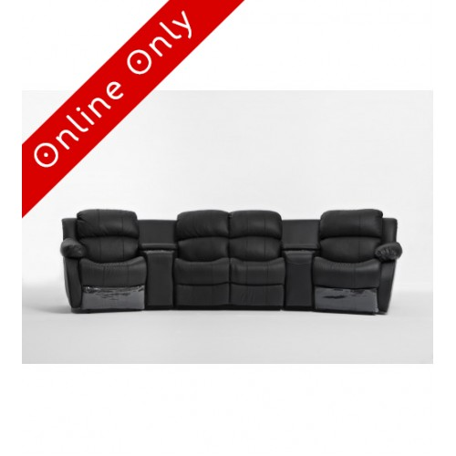 Nikki 4 seater Home Theatre Entertainment Lounge Suite with 4 Recliner 1 left arm chair