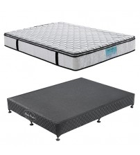 Wooden Slatted Base with Latex Pillow Top Mattress