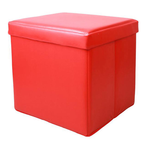 Large Storage Red Ottoman Footstools