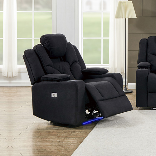 Arnold Rhino Fabric Black Headrest Padded Seat Recliner Sofa 1R