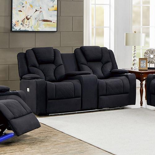 Arnold Rhino Fabric Black Headrest Padded Seat Recliner Sofa 2R