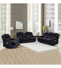 Arnold Rhino Fabric Black Recliner Sofa 3R+2R+1R