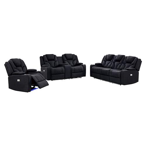 Arnold Rhino Fabric Black Headrest Padded Seat Recliner Sofa 3R+2R+1R