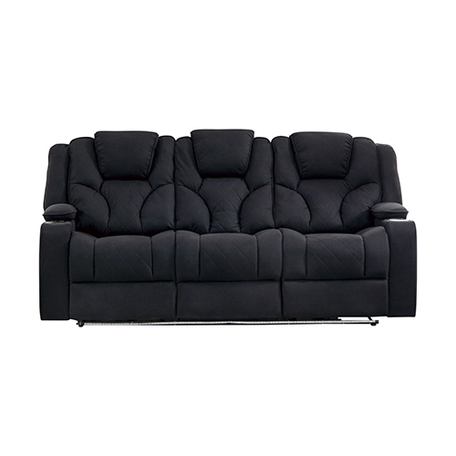 Arnold Rhino Fabric Black Headrest Padded Seat Recliner Sofa 3R
