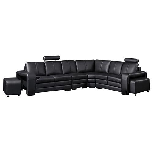 Majestic Black 6 Seater Corner Sofa (New)