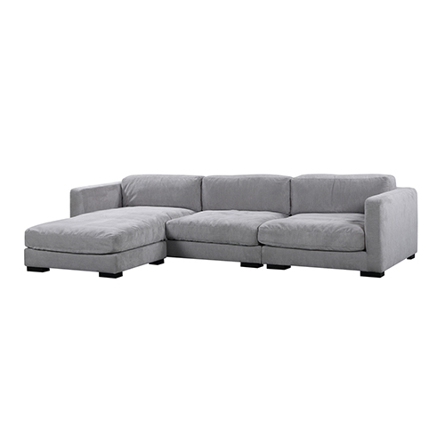 Renior 3 Seater Light Grey Corner Sofa with Chaise