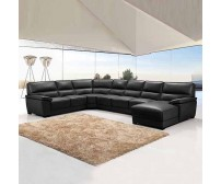 Hugo Black Large Corner Sofa