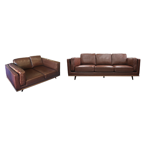 Stylish Leatherette Brown York 3+2 Seater Sofa