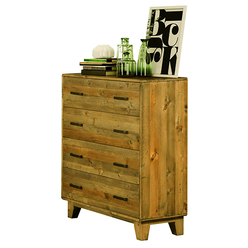 Woodstyle Light Brown 4 Drawers Tallboy